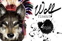 Set wolf portraits .4 styles