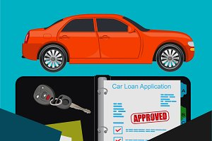 car loan concept, handshake, flat