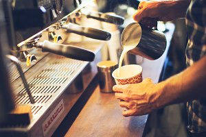 Making Coffee Latte, barista