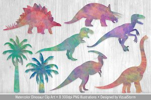 Watercolor Dinosaur Illustrations