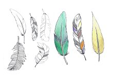 8 hand drawn watercolor feathers