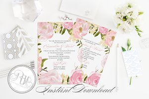 Rustic Peonies Wedding Invitation