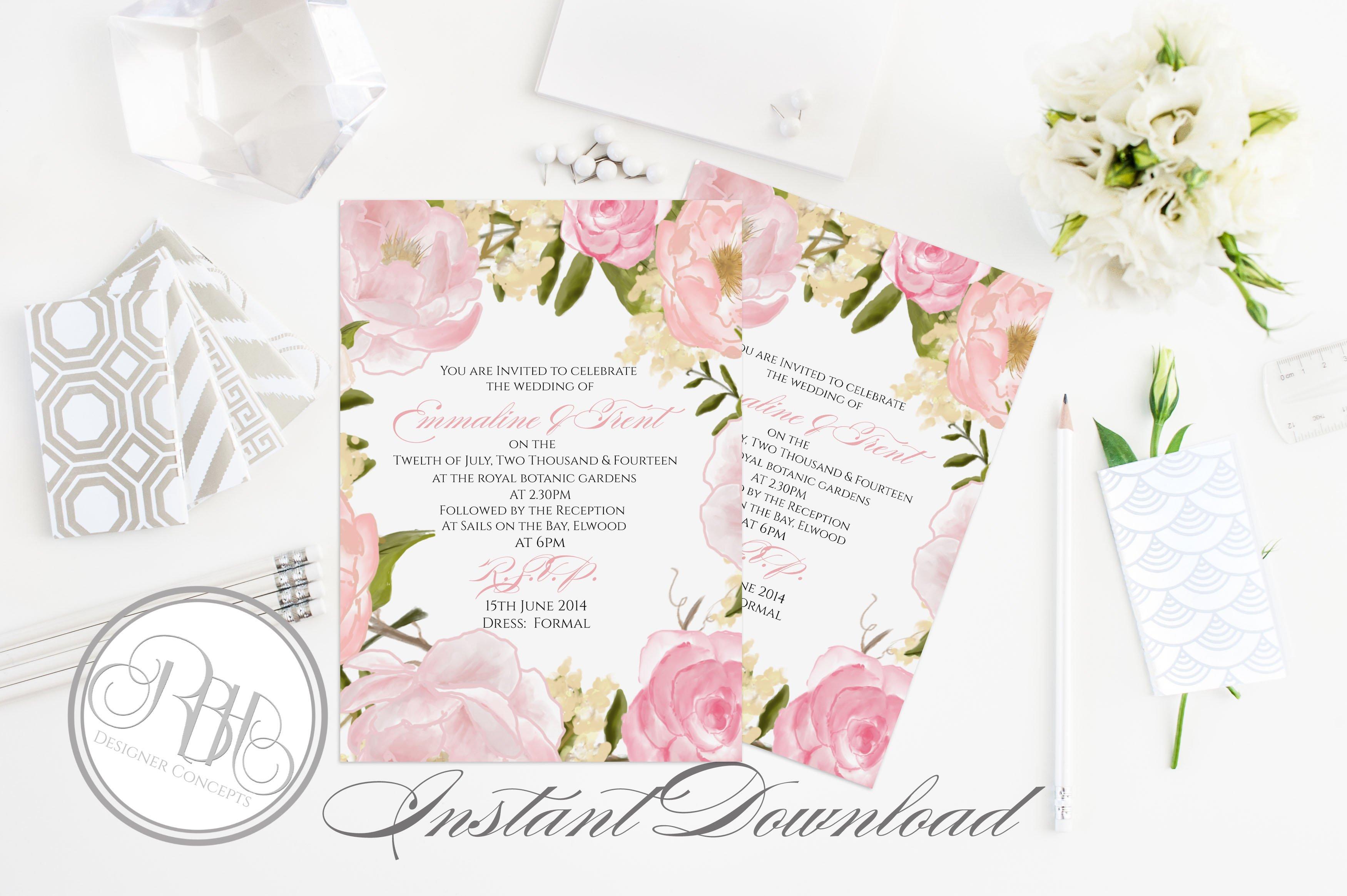 Rustic Peonies Wedding Invitation ~ Templates ~ Creative Market