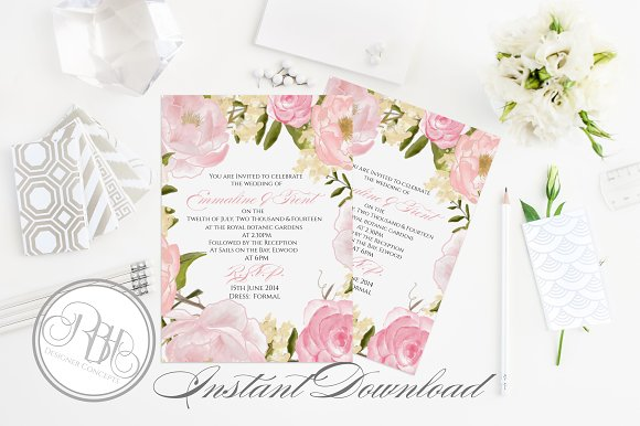 Rustic Peonies Wedding Invitation Templates