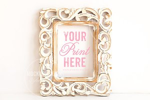 SET OF 2 Vintage White Frame Mockup