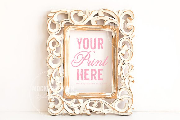 set of 2 vintage white frame mockup product mockups - White Vintage Picture Frames