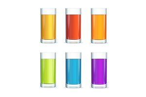 Colorful Cocktail Glasses Set.