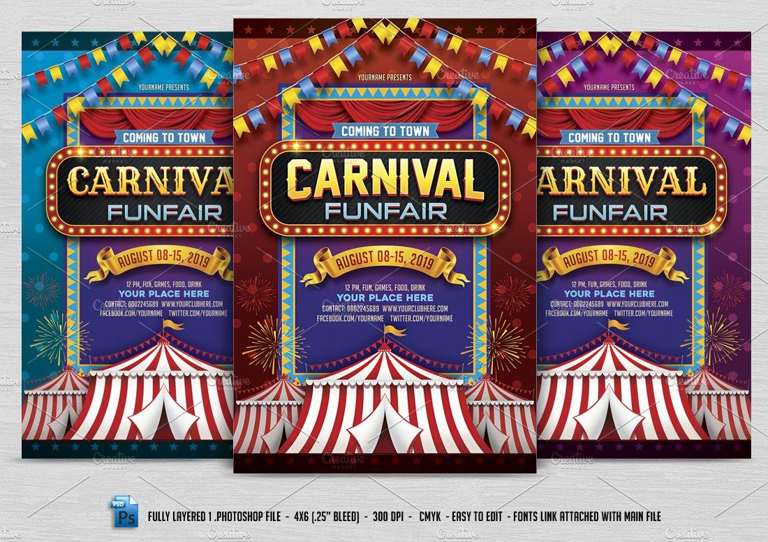 carnival flyer flyer templates creative market. Black Bedroom Furniture Sets. Home Design Ideas