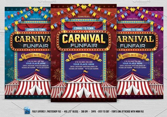 carnival flyer flyer templates creative market