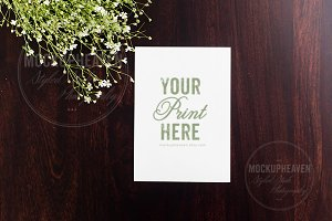 5x7 Card on Mahogany Mockup