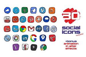 Hand-draw Social Icons