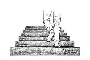 Hand drawn stairs and legs