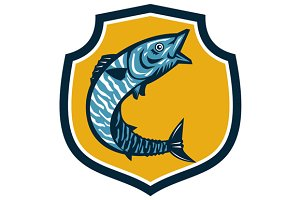 Wahoo Fish Jumping Shield Retro