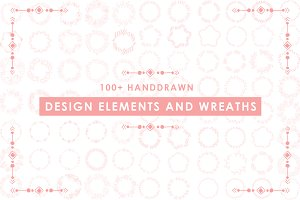 100+Handdrawn Wreath&Design Element