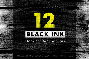 12 BLACK INK Handcrafted Textures