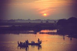 Boats at sunset on lake