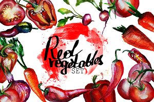 Set of watercolor red vegetables