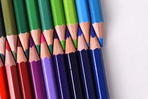 Colored pencils tips facing closeup