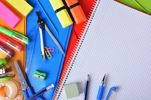 Background with school tools