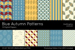 Blue Autumn Digital Papers
