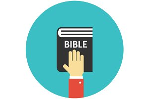 Hand on the Bible icon flat
