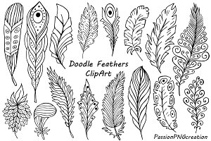 Hand Drawn Feathers Clipart