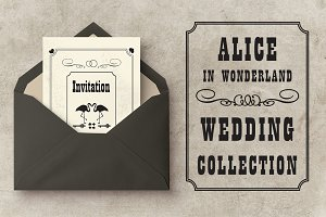 Wedding set Alice in Wonderland