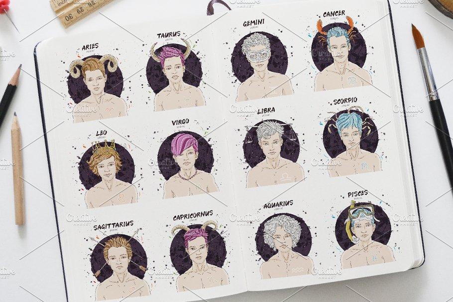 12 MENS ZODIAC SIGNS | Custom-Designed Illustrations