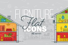 Flat furniture icons and houses