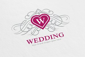 Wedding Heart Crest Logo