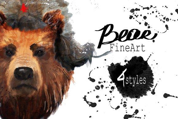 Set bear portraits .4 styles