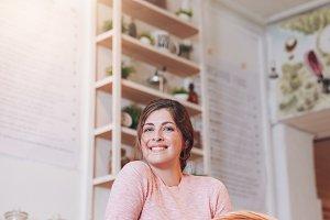Smiling juice bar owner