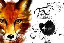 Set fox portraits .4 styles