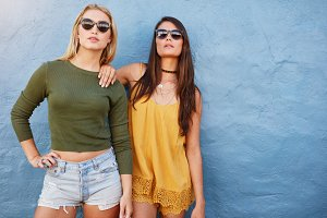 Fashion portrait of two friends
