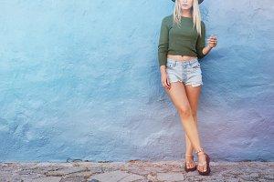 Fashion hipster woman posing
