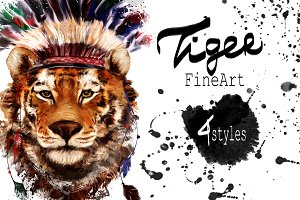 Set tiger portraits .4 styles