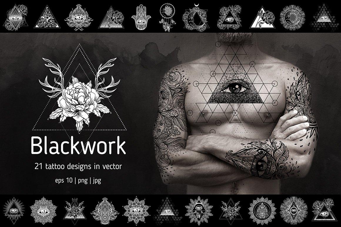 Blackwork 21 Vector Tattoo Designs Illustrations