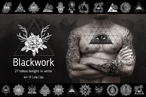 Blackwork. 21 vector tattoo designs.