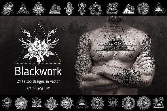 Blackwork. 21 vector tattoo designs.