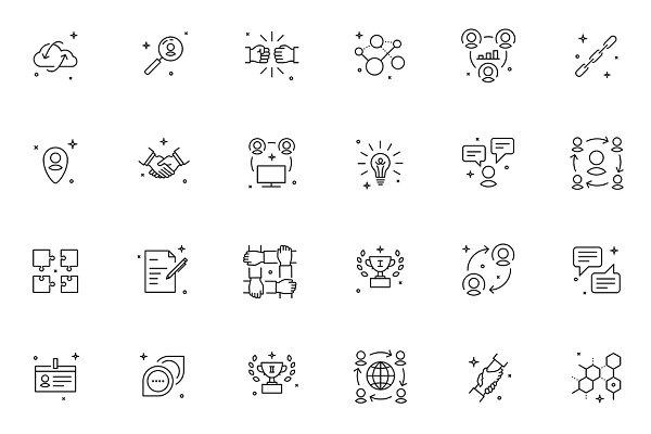 36 thin line teamwork icons