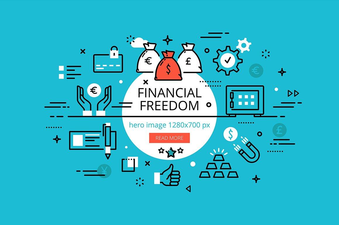 financial freedom hero banners web elements creative market