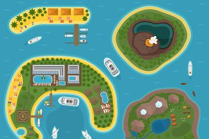 Island top view vector illustration.