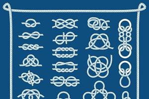 Rope knots vector illustration.