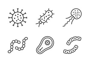 Set line icons of microbe
