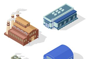 Isometric factory vector set.