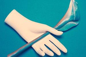 Gypsum hand and flower Calla.