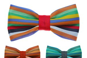 Bow tie with color rainbow strip