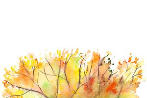 Watercolor autumn foliage background