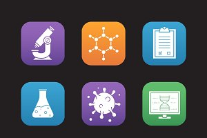 Science lab tools. 9 icons. Vector