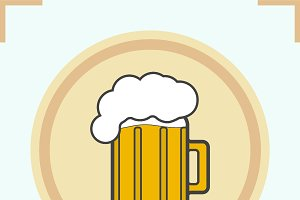 Foamy beer mug color icon. Vector
